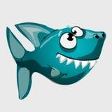 Tubarão azul toothy bonito dos peixes com olhos grandes Imagens de Stock Royalty Free