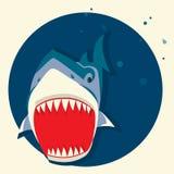Tubarão branco grande Vector a ilustração dos desenhos animados Foto de Stock Royalty Free