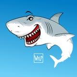 Tubarão com boca aberta Sinal selvagem da caligrafia ilustração do vetor
