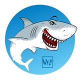 Tubarão com boca aberta Sinal selvagem da caligrafia ilustração royalty free