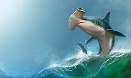 Tubarão de Hammerhead no fundo ilustração royalty free