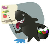Tubarão de Sharky que coleta ingredientes para o almoço. Fotos de Stock Royalty Free