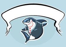 Tubarão de sorriso com bunner Imagens de Stock Royalty Free