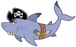 Tubarão do pirata dos desenhos animados Fotos de Stock