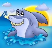 Tubarão dos desenhos animados com por do sol Imagens de Stock