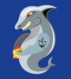 Tubarão e goldfish. ilustração do vetor