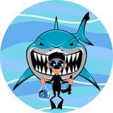 Tubarão e mergulhador Fotos de Stock Royalty Free