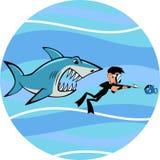 Tubarão e mergulhador Imagens de Stock Royalty Free