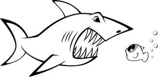 Tubarão e peixes Fotografia de Stock