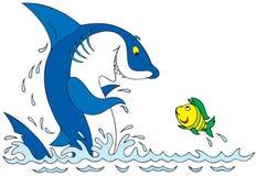 Tubarão e peixes ilustração royalty free