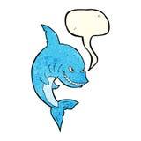 tubarão engraçado dos desenhos animados com bolha do discurso Foto de Stock Royalty Free