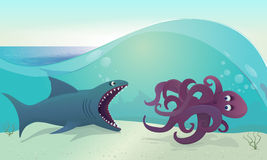 Tubarão para o polvo Imagens de Stock Royalty Free