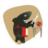 Tubarão que sharpening os knifes para comer um tomate. Imagem de Stock
