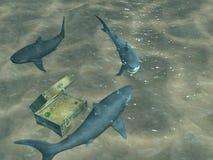 tubarões 3d que flutuam acima de uma caixa com tesouros Fotografia de Stock Royalty Free