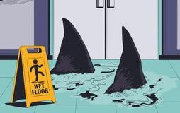 Tubar?es que nadam no assoalho molhado Sinal de aviso Ilustra??o conservada em estoque ilustração stock