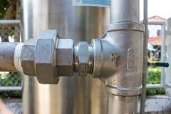 Tubatura dell'acqua dell'acciaio inossidabile Fotografia Stock Libera da Diritti