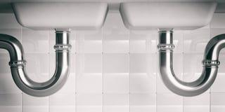 Tubature dell'acqua sotto il doppio lavandino illustartion 3d immagini stock