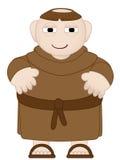 Tubby Mönch in den Brown-Roben, die sandles tragen Lizenzfreies Stockfoto