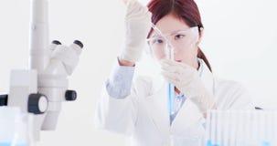 Tube à essai de prise de scientifique de femme photos libres de droits
