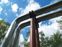 Tube. Water pipeline against blue sky Royalty Free Stock Photo
