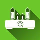 Tube Amplifier Symbol, Long Shadows, Vector Illustration Royalty Free Stock Photo