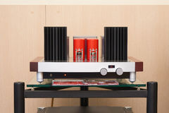 Tube amplifier on the table Stock Photo