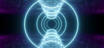 Tube au néon rougeoyant Li formé par cercle de pourpre bleu futuriste de la science fiction illustration libre de droits