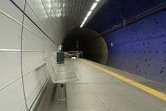 Cologne subway station. From the tube comes the train Royalty Free Stock Image