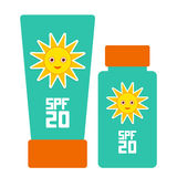 Tube container of sun cream Sunscreen SPF 20. The blue tube on white background. Summer, sun tanning and sunscreen concept. sun ca Stock Image