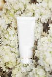 Tube for cosmetic hygiene products on a background of white fresh flowers Stock Image