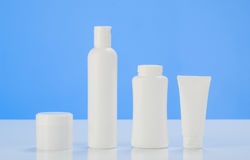 Tube of cream or gel white plastic packaging product mockup Stock Photos