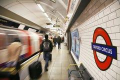 Tube de Londres, cirque d'Oxford Images stock