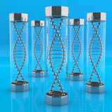 Tube with DNA molecules Royalty Free Stock Images