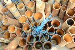 Tube en bambou de bambou de récipient de tube Photos stock