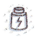 Tube Energy people 3d. Large and creative group of people gathered together in the shape of a tube, Energy. 3D illustration, isolated against a white background Stock Photos
