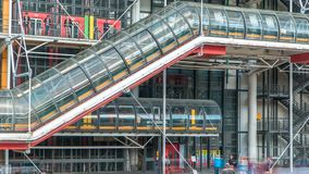 Tube with escalator of the Centre of Georges Pompidou timelapse in Paris, France. The Centre of Georges Pompidou is one of the most famous museums of the stock video