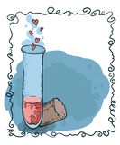 Tube-essai avec le style dessiné d'icône de coeurs à disposition Élixir d'amour Photographie stock libre de droits