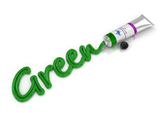 Tube green oil paint with an inscription paint Royalty Free Stock Photos