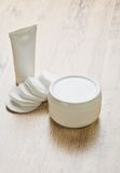 Tube  jar and cotton pads Stock Image
