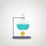 Tube Lab. Chemistry tube with blue liquid on lab burner Stock Image