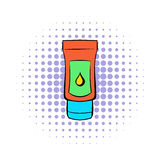 Tube of lubricant gel icon, comics style. Tube of lubricant gel icon in comics style on a white background Royalty Free Stock Images