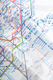 The tube map. London tube map with lots of routes Stock Photo