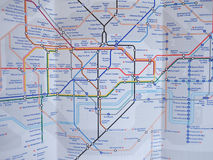 Tube map of London underground. LONDON, UK - JANUARY 10, 2015: Tube map of the London Underground subway lines Royalty Free Stock Photo