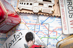 Tube map and souvenirs Stock Photography