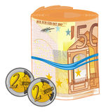Tube of money with coins. Tube of euro with euro cents Stock Image