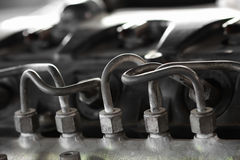 Free Tube Of Engine Fuel Line From The Pump To Manifold Line, Machine Equipment Of Vehicles, Repair Machine Job In The Garage Stock Image - 70794651