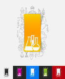Tube paper sticker with hand drawn elements Royalty Free Stock Image
