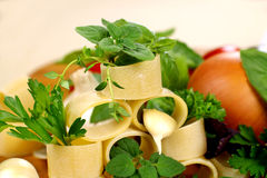 Tube Pasta And Herbs Stock Image