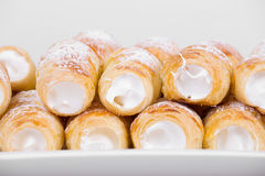 Tube of pastry filled with snow Stock Image