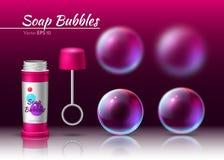 Tube réaliste de savon de vecteur transparent de bulles bulles 3d volumed par sphère illustration de vecteur